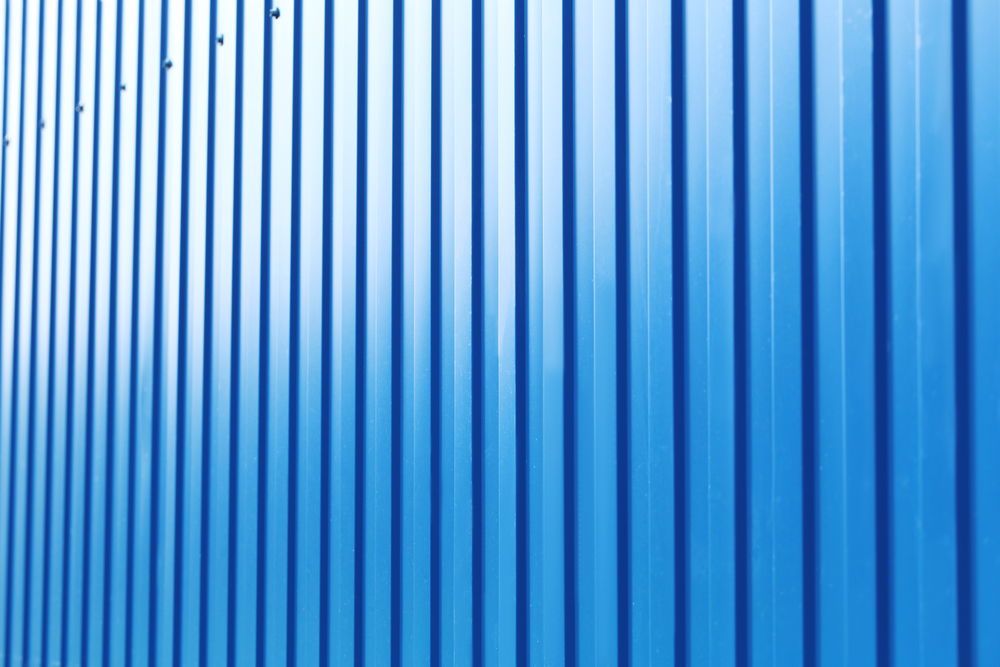 Blue steel fence background